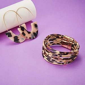 Leopard  Multilayer Cuff Bracelet and  Earrings